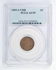 1909-S VDB Lincoln Cent PCGS AU55BN Very Original Key Date No Reserve!