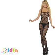 BLACK SHEER CRISS CROSS STYLE BODY STOCKING ladies womens catsuit hosiery