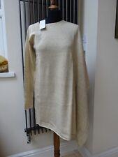 Axara Paris Ladies Asymmetric Poncho Sweater Free Sleeve Wool Beige Size L New