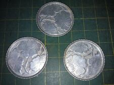 "7Ll49 3 Pack Aluminum Coasters, 3"" Diameter +/-, Embossed With Shamrocks?, Gc"