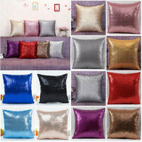 Sequins Solid Color Glitter Throw Pillow Case Cafe Sofa Home Decor Cushion Cover
