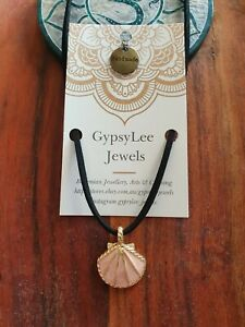 Anklet Gold Rose Seashell Ocean GypsyLee Jewels Suede Leather Tie Up Beach Style