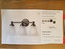 POTTERY BARN SUSSEX TRIPLE WALL SCONCE, NEW, ANTIQUE BRONZE