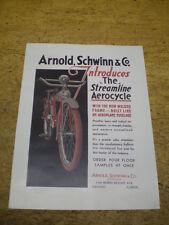 Quality Reprint 1934 Schwinn Aerocycle Motobike Bicycle Dealer Brochure Catalog
