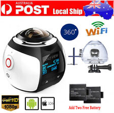 4K Wifi 360° Sport  Panoramic Camera HD 2448P 3D VR Helmet Action Cam+2Battery