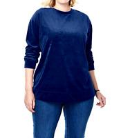 Women's 5X Sweatshirt Top Shirt Blue Velour 4X 34/36 Bust 70 Tunic Length 32