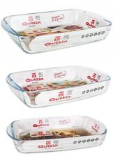 3 PIECE SET QUTTIN Glass Oven Roasting Baking Lasagne TRAY RECTANGULAR DISH
