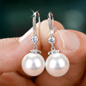 925 Silver Drop Earrings Elegant White Pearl Jewelry Women Engagement Earrings