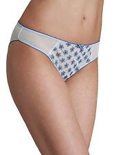 M & S Size 14 Sheer Low Rise broderie Bikini Knickers Panties Briefs Blue
