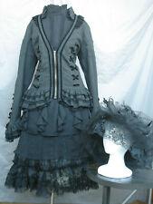 Victorian Dress Women's Edwardian Costume Civil War Widow Black w Hat