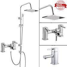 Modern 3 Vie Doccia Quadrato Rigido Riser Kit, Rubinetto miscelatore doccia da bagno, rubinetto lavabo