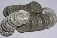 Pre-1965 WASHINGTON  Silver QUARTER ROLL-- 40 COIN'S 1930's 1940's 1950's 1960's