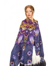 Purple Peacock Feathers Women's Scarf, Shawl or Wrap, 100% Cotton Scarf