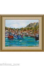 MORRO BAY MARINA California Art oil canvas 16x20 by Galina Zaytseva Free Shippin