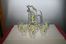 Federal Glass Pitcher and 5 Juice Tumblers with Hand Painted Floral Design