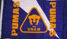 Club Pumas De La UNAM Flag Banner 3x5 ft, New Navy Blue Gold White Bandera