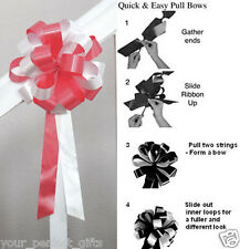 """CORAL RED WHITE WEDDING 8"""" PEW BOW BRIDAL DECORATION"""