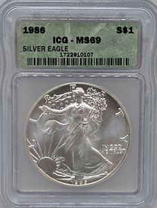 1986 Silver American Eagle ICG MS69
