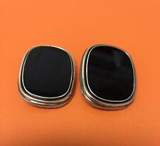Zina of Beverly Hills Sterling Silver 14K Gold Onyx Earrings