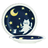 "Japanese 5.5""D Dessert Snack Coaster Serving Plate Dish Moon Cat Made in Japan"