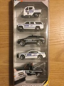 MATCHBOX 2016 5x Gift Pack NYPD POLICE RESCUE CHARGER PURSUIT SUBURBAN GMC TOW +