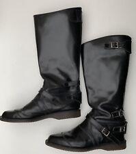 Rare Vintage Dr. Marten's Tall Biker Boots Back Zip Pointed Toes UK 10 BLACK