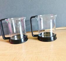 2 Bodum Bistro Coffee Tea Mugs Cups Glass Black Handles Denmark 8 oz Vintage