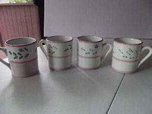 "(4) Beverage Coffee Mugs Cups 4"" Pink Floral Garland NINA Caleca painted Italy"