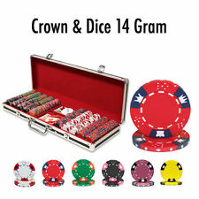 NEW 500 Crown & Dice 14 Gram Clay Poker Chips Black Aluminum Case Set Pick Chips
