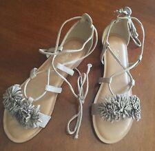 Sportsgirl Size 9 Beige Ankle Tie Pompon Trim Sandals Rrp $70