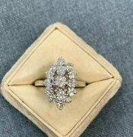 Vintage 1.15 Ct Estate Round Diamond Cluster Engagement Ring 14K White Gold Over