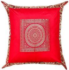 "24x24"" Red Pillow Cushion Cover Mandala Brocade Silk Sofa Couch Throw Home Decor"