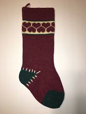Christmas Stocking Knit Wool Red Maroon Green Folk Primitive Country Hearts