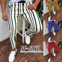 Men Drawstring Pencil Pants Stripe Jogger Harem Hip Hop Trousers Slim Casual