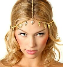 High Gloss Gold Plated Leaves Chain Fashion Hairband Hairbelt Hair Accessories