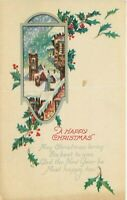 DB Christmas Postcard L378 New Years Greeting Holly Snow Scene Vignette 1924