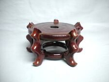 """New listing Tall Asian Wood Plant Vase Stand Base Display Red 3 3/4"""" Plateau Chinese"""