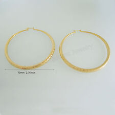 "8G BIG ROUND HOOP DIAMETER 2.76"" EARRING 18K YELLOW GOLD PLATED GP OVERLAY NEW"