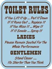 "Retro Vintage Nostalgic Funny Toilet Restroom Bathroom Rules Metal Sign 9""x12"""