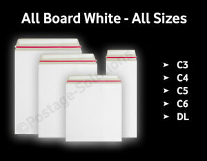 Strong All Board White - C3/A3 C4/A4 C5/A5 - 10 50 100 500 - Peel&Seal Envelopes