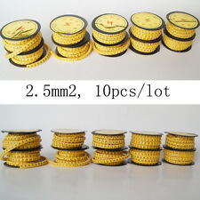 Unique 10pcs 2.5mm2 Cable yellow Spiral Wrap Label Tube Number Mark No.0 - 9