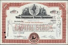 American News Company, Cancelled Stock Certificate