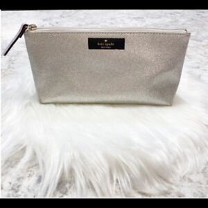 Kate Spade Cosmetic Bag Silver Zip