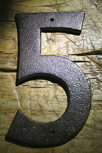 Rustic BROWN Cast Iron Metal House Numbers Street Address 6 1/2 INCH Phone #'s 5