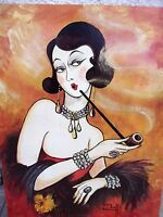 Old Vintage Artist Signed M. Buffe Original Oil Painting Woman smoke