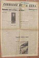 CORRIERE DELLA SERA 12 MARZO 1941 MATSUOKA LIBRO DELLA PROPRIETA PORTSMOUTH