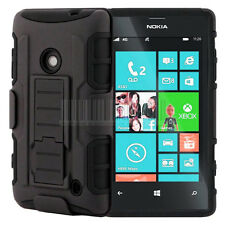 Black Rugged Armor Hybrid Hard Case Cover Clip Holster For Nokia Lumia 520 525