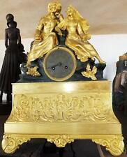 MUSEUM SAMMLER KAMINUHR PENDULE LIEBESPAAR Bronze feuervergoldet antik Barock