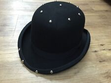 Bowler Hat Punk Steam Punk Black 2017 New In Studded 100% Wool Man Lady Hats