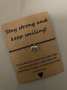 💕 Stay Strong And Smiling Elephant Wish Friendship Charm bracelet Present💕
